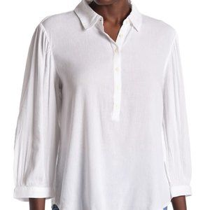 Caslon white gauze BNWT collared blouse buttons
